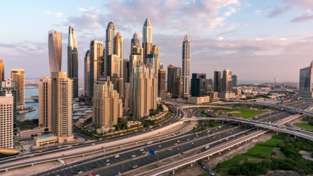 time lapse traffic in dubai - dubai architecture stock videos & royalty-free footage