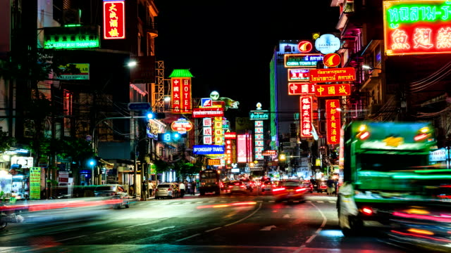 HD Time lapse : Traffic jam in China town at night Bangkok Thailand video