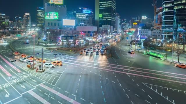 vídeos y material grabado en eventos de stock de lapso de tiempo k 4: tráfico de la ciudad de seúl, corea del sur - n seoul tower