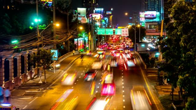 Time Lapse Traffic on Ratchadapisek Road, Bangkok at Night video