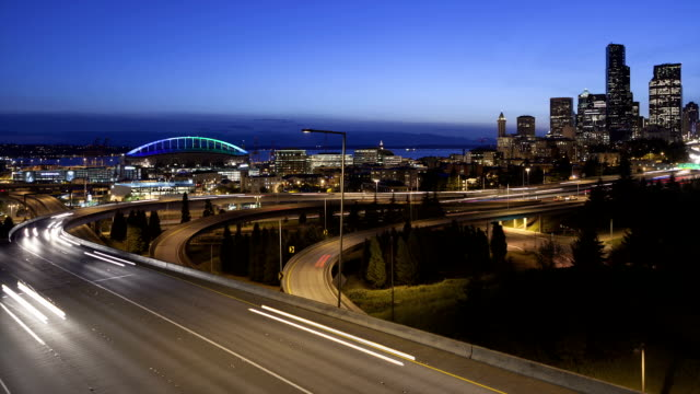 Time lapse traffic Seattle Skyline video