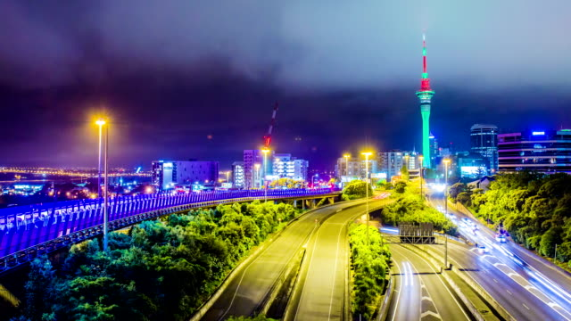 Time Lapse - Traffic View at Night in Auckland, New Zealand video