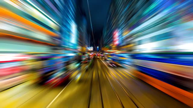 time lapse tram fast speed motion in city of hong kong (avanti, ansa) - tranvia video stock e b–roll