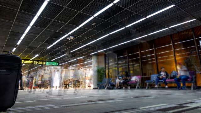Time lapse: Traveler walking in Airport video