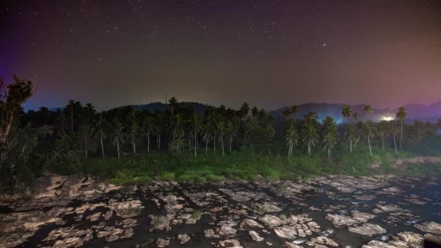 WS Time lapse tropical landscape at night,Sri Lanka
