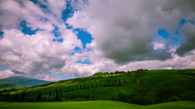 Time Lapse - Tuscany Landscape with Cypress Trees and Rolling Hills - 4K