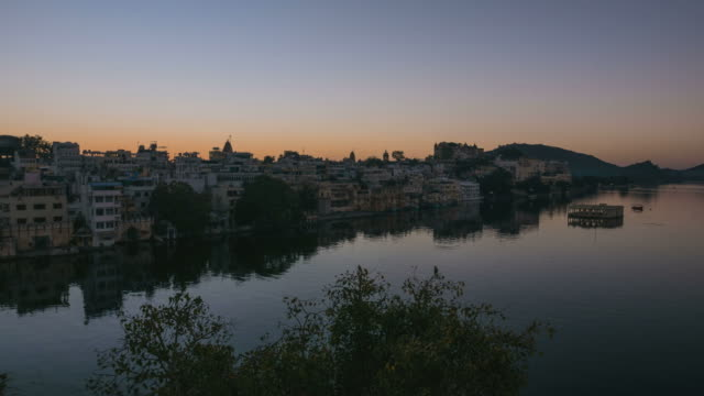 Time lapse Udaipur, Rajasthan, India, cityscape at sunrise video