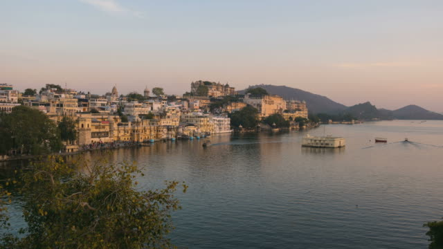 Time lapse Udaipur, Rajasthan, India, cityscape at sunset video