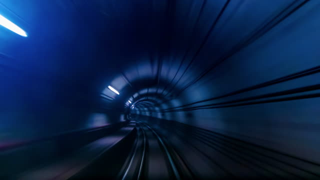4K Time lapse Underground railways Fast Speed Motion