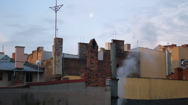 Time lapse video of dirty smoke flowing from the chimney in 4k