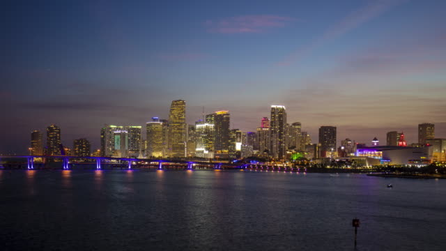 Time lapse video of Miami Downtown skyline at sunset