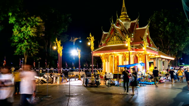 Time Lapse Video of Night Street Market and People Activity with Illuminated Colorful Shrine video