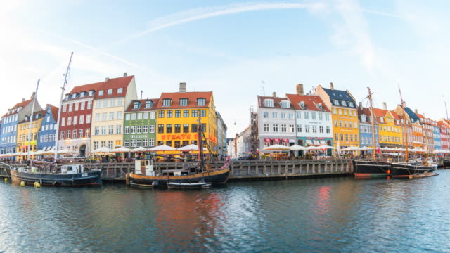 Time lapse video of Nyhavn waterfront, canal and entertainment district in Copenhagen, Denmark. video