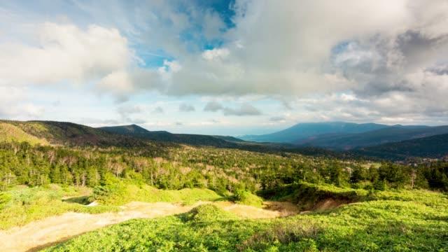 4k 時間拉波斯視頻秋天在八島山頂上的視點與運動雲在托瓦-哈奇曼台國家公園的颳風日。 - four seasons 個影片檔及 b 捲影像