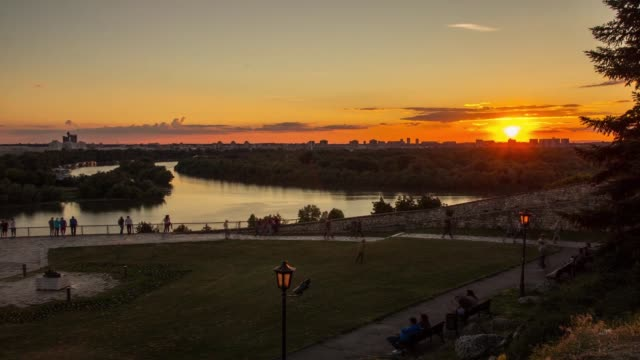 Time Lapse, View from the Kalemegdan fortress to the mouth of the river, sunset, Belgrade, Serbia video
