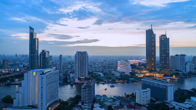 4k, time lapse view of bangkok and skyscraper in bangkok city downtown at chao phraya river bangkok of thailand - tajlandia filmów i materiałów b-roll