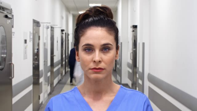 Time lapse view of female doctor on the corridor