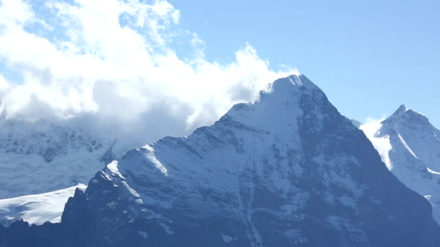 Time lapse view of mountains, including Eiger North Face video