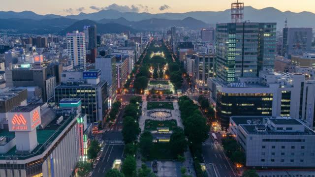 tidsfördröjd vy över sapporo city - hokkaido bildbanksvideor och videomaterial från bakom kulisserna