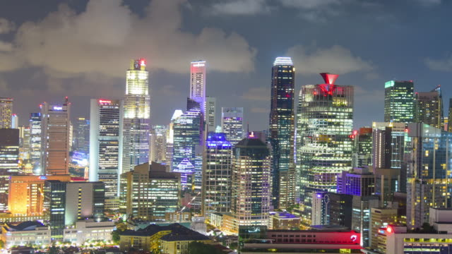 time lapse View of The skyline of Singapore downtown CBD video