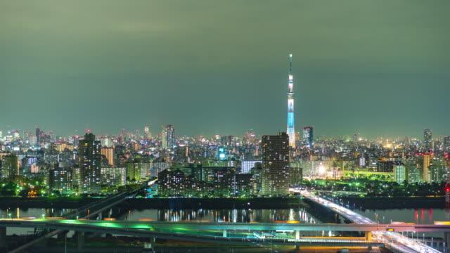 4 K の時間経過: スカイツリーと東京都市の眺め ビデオ