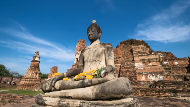 4K Time lapse : Wat Mahathat a landmark old temple in Ayutthaya Province, Thailand video
