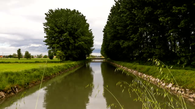Time Lapse - Water canal with moving clouds video
