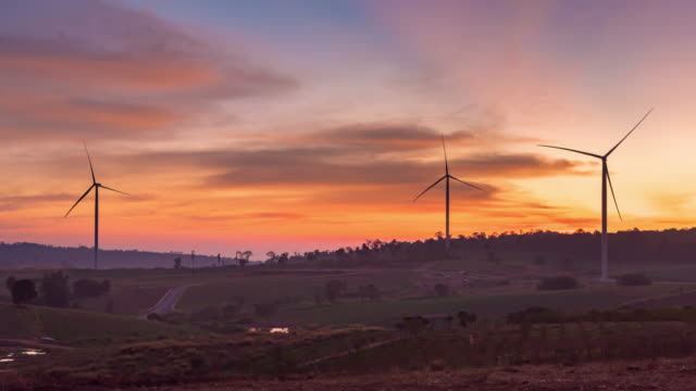 4K Time Lapse : Windmills for electric power production at sunset,Phetchabun Province, Thailand video