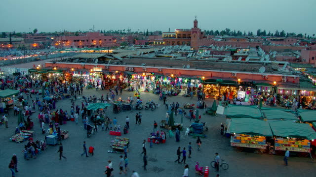 Time lapse with walking crowd of people, city square of Marrakesh in Morocco video