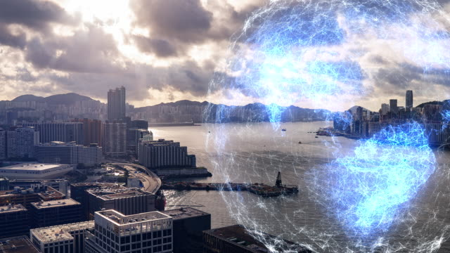 4K Time Lapse World map Network technology in communication is a spider web, The background is the view of Hong Kong.