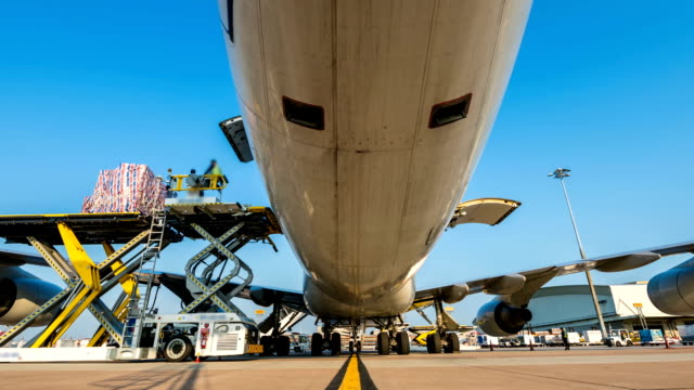time lapse zoom in loading cargo outside cargo plane - kontener filmów i materiałów b-roll