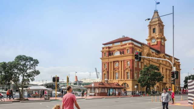 4K Time lapse Zoom out : Pedestrian or crowd people in Auckland at Ferry Building, New Zealand. video