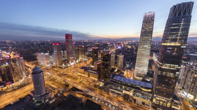 Time Lapse-Cityscape of Beijing,China Time Lapse-Cityscape of Beijing,China,the main building is China World Trade Center. sunset to night time lapse stock videos & royalty-free footage