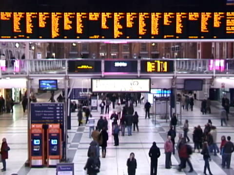 Time lapsed video of a busy train station video