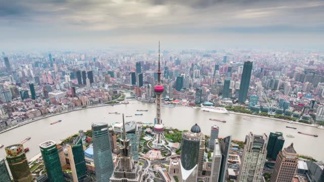 time lapse-elevated view of  shanghai skyline - szanghaj filmów i materiałów b-roll