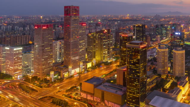 Time Lapse-night cityscape of Beijing,China Time Lapse-night cityscape of Beijing,China sunset to night time lapse stock videos & royalty-free footage