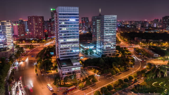 Time Lapse-Night traffic of Beijing and Office Building video