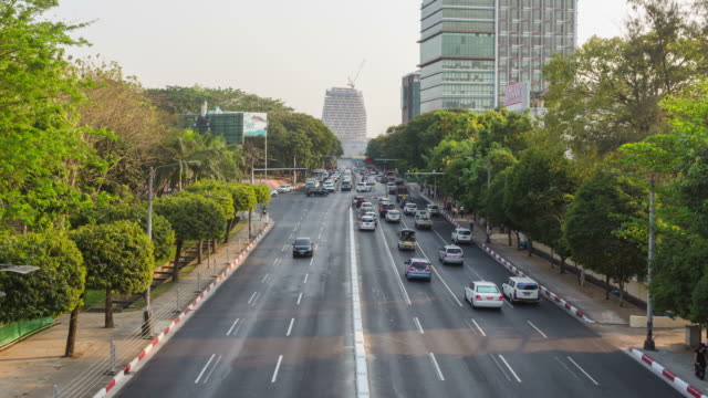 4k time lapse:road traffic at yangon in myanmar - myanmar video stock e b–roll