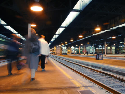 Time Lapse...Train Station at Rush Hour video