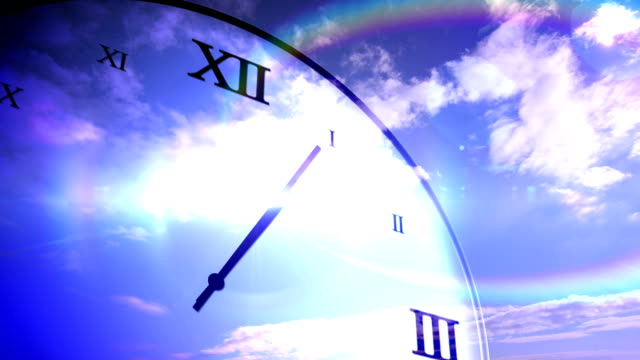 Time passing concept with clock on blue sky video