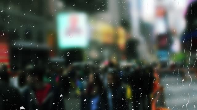 Time Square in New York during the rain. View from the window. video