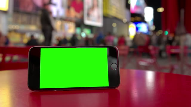 Time Square New York smartphone mobile crowd green screen chromakey video