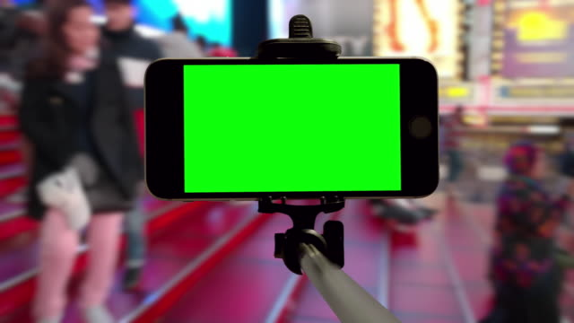 Time Square people crowd green screen chromakey NYC mobile smartphone video