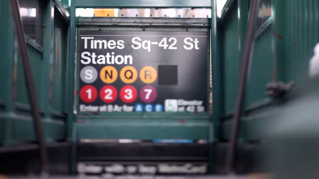 Time Square Station Subway entrance in Time Square Station 42nd street, New York City. (Dolly Shot) (Tilt Shift Lens) subway station stock videos & royalty-free footage
