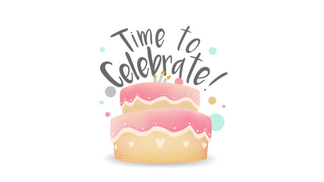 Time to celebrate with cake holidays animation. Birthday greeting card. Time to celebrate with cake holidays animation. Birthday greeting card. Animated footage happy birthday stock videos & royalty-free footage