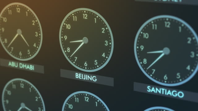 time zone clocks close-up of a wall of clocks with time of different cities (3d render) time zone stock videos & royalty-free footage