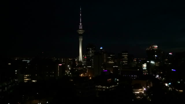 Timelaps of Auckland New Zealand Skyline at sunrise time laps video