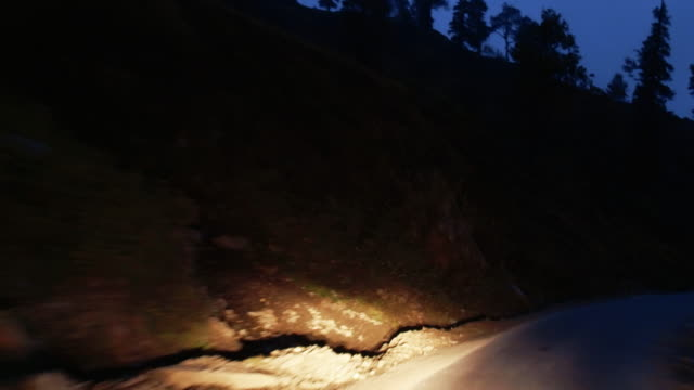 Timelaps of mountain road in the Himalayas at night video
