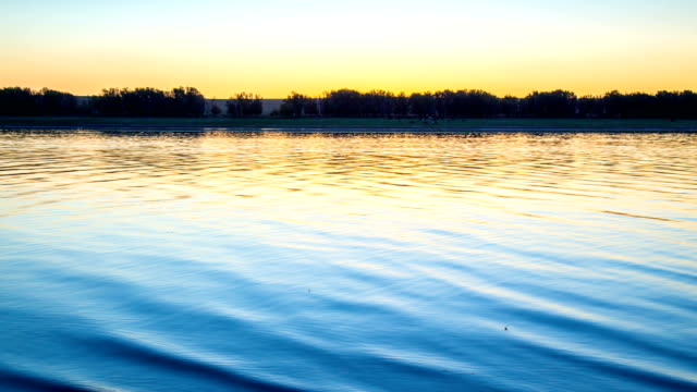 Timelaps Water surface of the lake at sunset video
