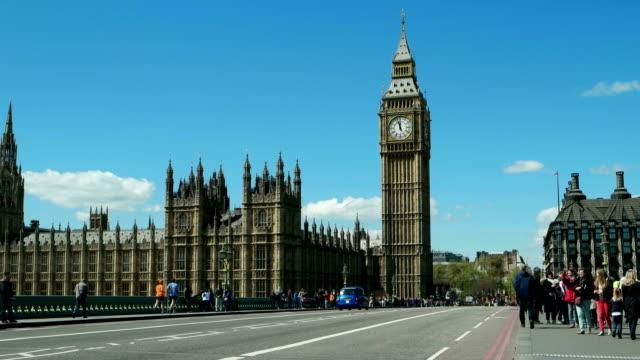Time-lapse. 12.00 o'clock. mid day. London, Big Ben. Blue sky. video